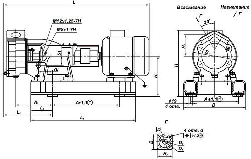 Габаритная характеристика насосов ВК 1/16А-2Г